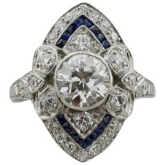 Diamond and Sapphire Ring in Platinum