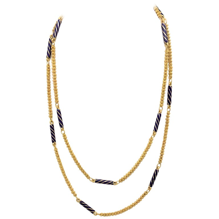 Enamel and 18 Karat Yellow Gold Etruscan Link Necklace