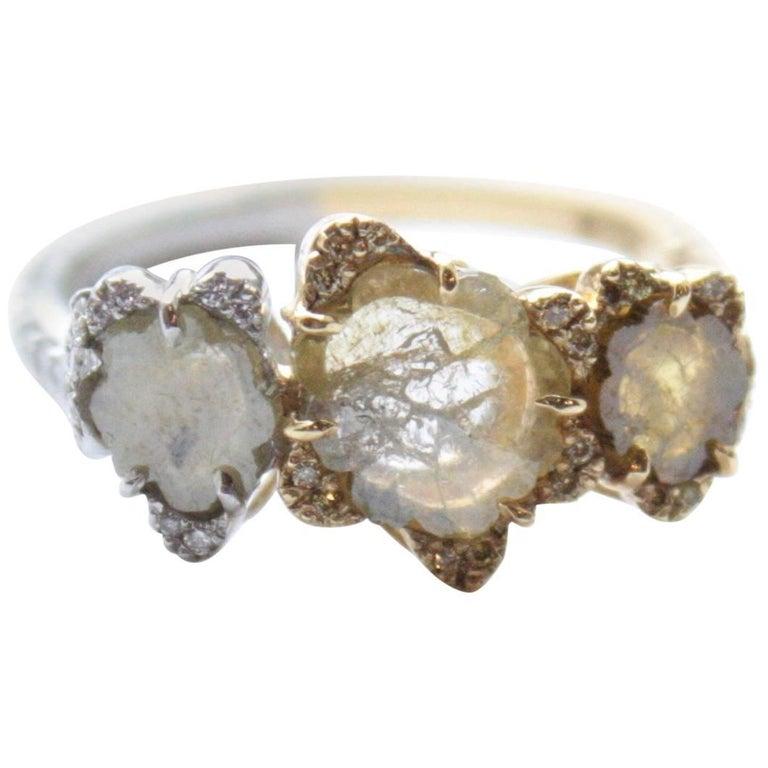 Sharon Khazzam Platinum & 18K Yellow Gold Grey and Yellow Diamond Florette Ring For Sale