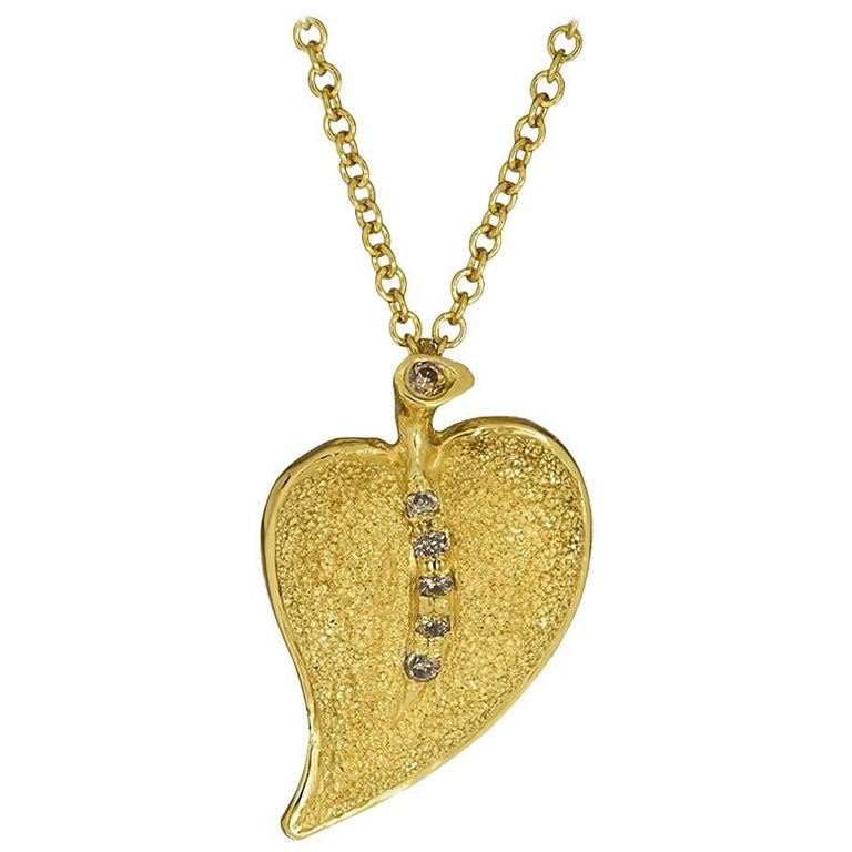 Diamond Gold Textured Leaf Pendant Necklace on Chain One of a Kind