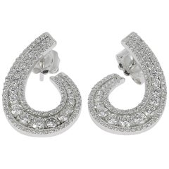 1.97 carats GVS Round Diamonds Swirl Earring 18K White Gold Stud Earrings