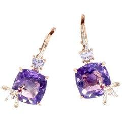 Amethyst and Purple Sapphire Bee Earrings