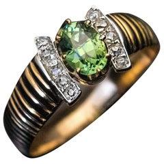 Antique Russian Demantoid Diamond Gold Ribbed Ring