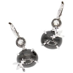 Black Star Diopside and White Diamond Bee Earrings