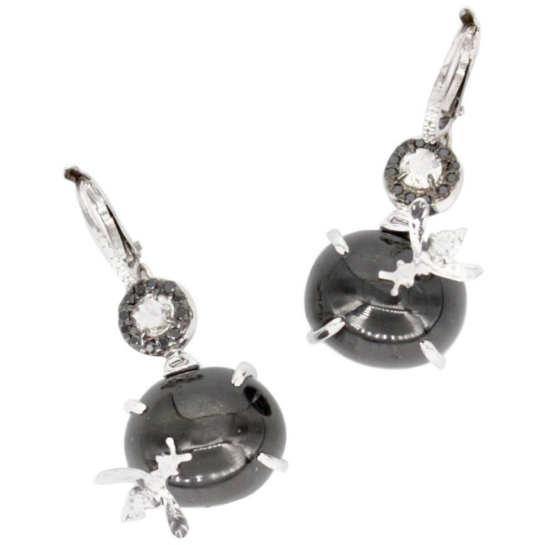 Black Star Diopside And White Diamond Bee Earrings For