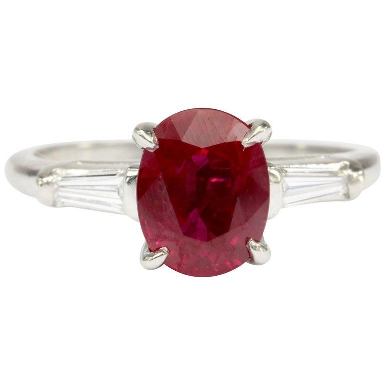Art Deco Platinum 2.11 Carat Natural Burmese Ruby and Diamond Ring