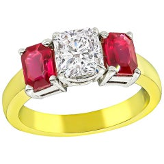 GIA Certified 1.01 Carat Diamond Ruby Engagement Ring