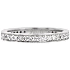 Estate Round Diamond Platinum Eternity Band Ring