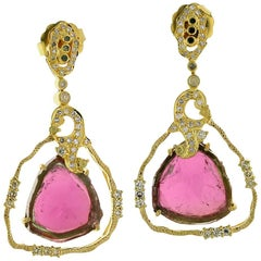 Lovely Trillion Shape Watermelon Tourmaline Earring with Diamonds