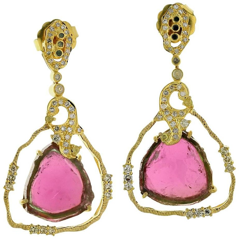 Lovely Trillion Shape Watermelon Tourmaline Earring With Diamonds For