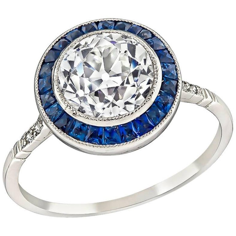 GIA Certified 2.01 Carat Diamond Sapphire Halo Engagement Ring