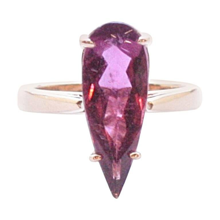 Rose Gold Pear-Shaped Rubellite Pito Ring
