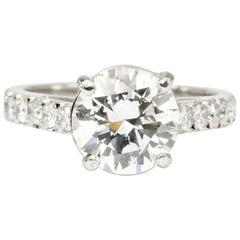 White Gold GIA 2.59 Carat Diamond Engagement Ring
