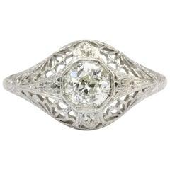 Art Deco 19 Karat White Gold Diamond Filigree Engagement Ring