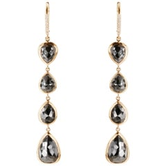 13.04 Carat TW Black Diamond Pearshape Dangle Drop Earrings in 18K Rose Gold