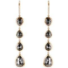 13.04 Carat TW Black Diamond Pearshape Dangle Drop Earrings in 18K Rose Gold