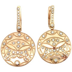 Custom Made 18 Karat Rose Gold Circular Diamond Drop Earrings