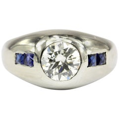 Art Deco 20 Karat White Gold 1 Carat Diamond and French Cut Gypsy Ring