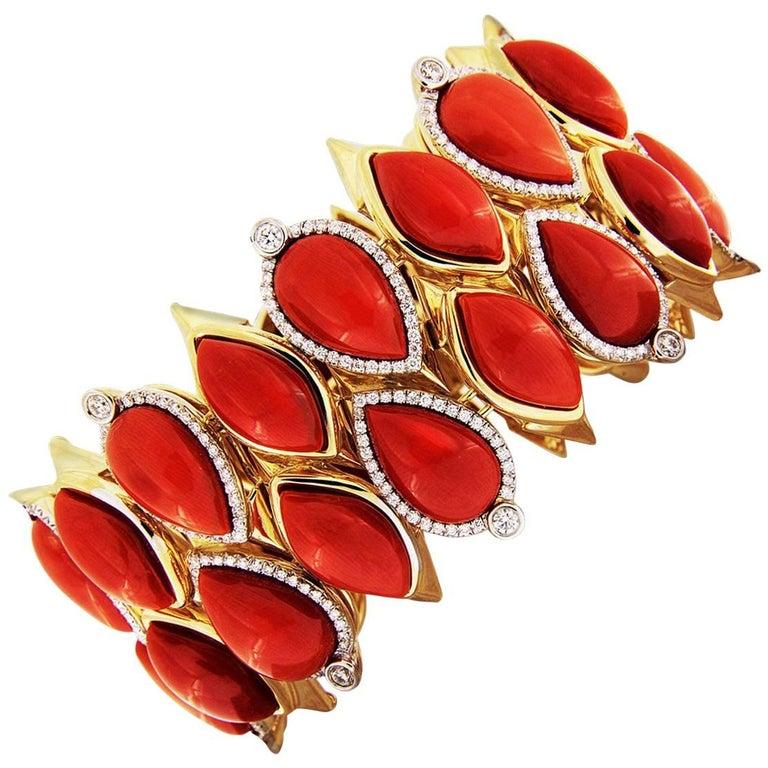 Valentin Magro Mediterranean Coral and Diamond Gold Bracelet