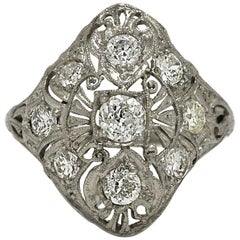 Art Deco Platinum Diamond Filigree Edwardian Cocktail Statement Ring Trinity