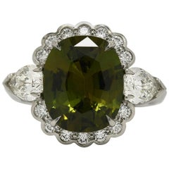GIA Certified 5.10 Carat Alexandrite Diamond Engagement Ring