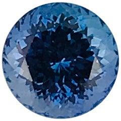 Round Cut Loose 4.95 Carat Tanzanite Stone, Deep Blue Color