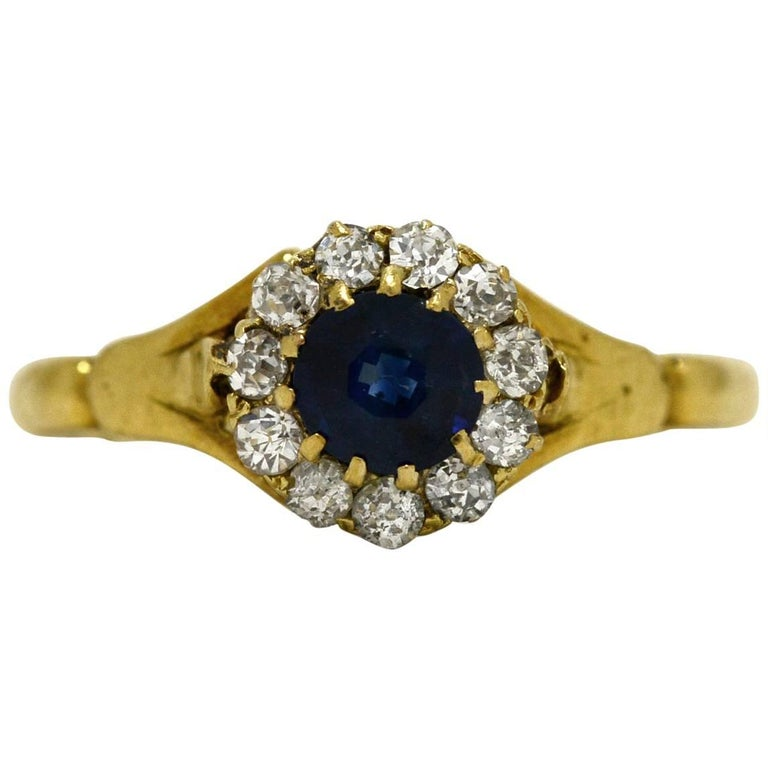 Victorian Sapphire Engagement Ring 1890 Antique Diamond Halo Cluster Yellow Gold