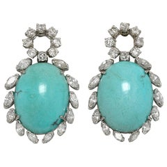 Persian Turquoise Diamond Halo 1970s 18K White Gold Dangle Earrings Vintage 1970