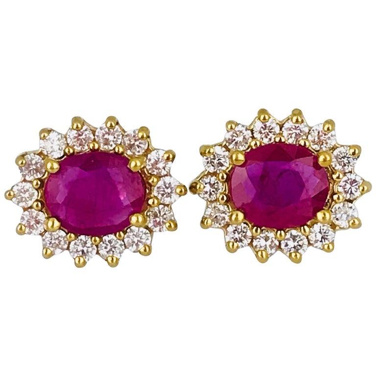 Oval 2.40 Carat Burma Ruby Diamond Halo Stud Earrings 14 Karat Gold Contemporary