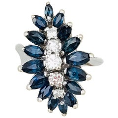 Contemporary, Marquise Blue Sapphires and Diamonds, 14 Karat White Gold Ring