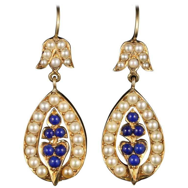 Antique Victorian Pearl Earrings Lapis Lazuli 15 Carat Gold, circa 1880