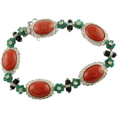 Diamonds, Emeralds, Oval Shape Red Corals, Onyx,White Gold Link Retrò Bracelet