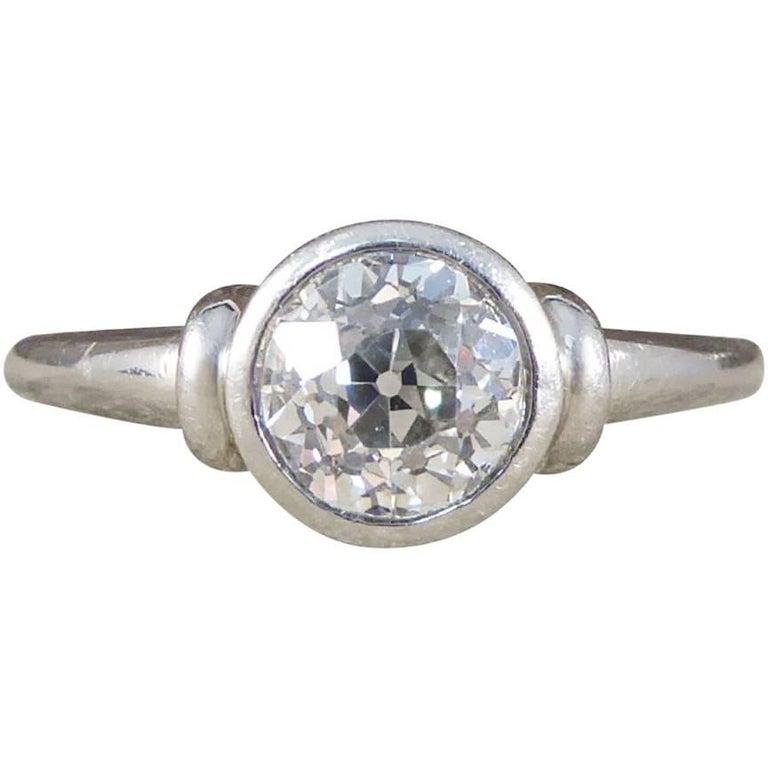 Diamond Solitaire Engagement Ring in Platinum 0.87 Carat