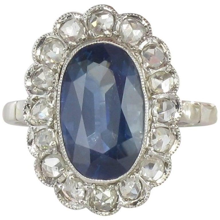 1925 French Art Deco Antique Sapphire Diamond Pompadour Ring