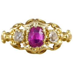 Victorian Ruby and Diamond Ring in 18 Carat Yellow Gold
