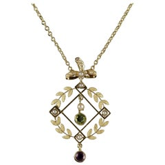 Antique Victorian Suffragette Necklace 15 Carat Gold Pendant, circa 1900