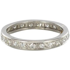French 1930s Art deco Platinium Diamond Wedding Band Ring