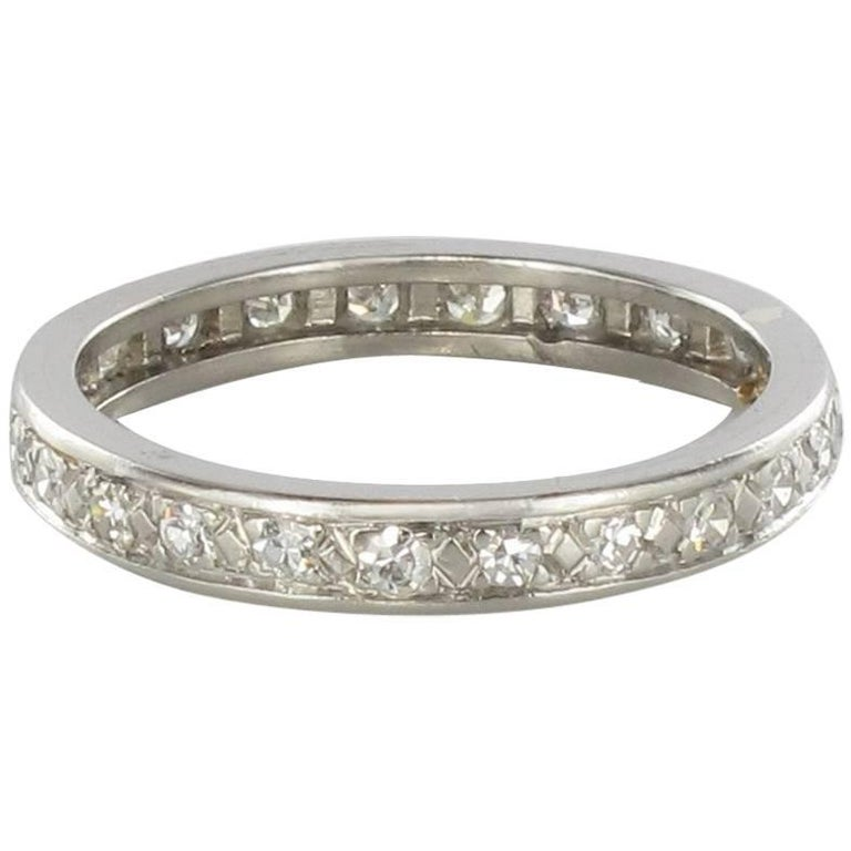 French 1930s Art deco Platinium Diamond Wedding Band Ring