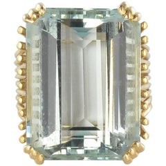French 1960s 18 Carats Aquamarine Yellow Gold Ring