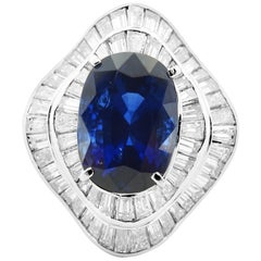 GRS Certified Vivid Blue Royal Sapphire 7.21 ct and 3.20 ct diamond Ring