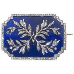 Risler & Carré Enamel and Diamond Brooch
