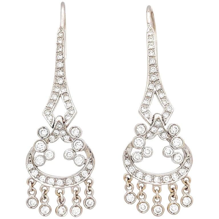 14 Karat White Gold 1.50 Carat Round Brilliant Diamond Chandelier Earrings SI2,G