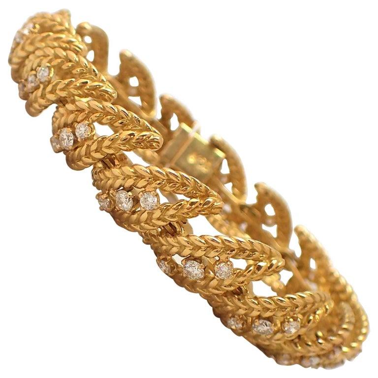 18 Karat Yellow Gold Diamond Bracelet