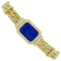 18 Karat Yellow Gold Diamond and Lapis Lazuli Bracelet