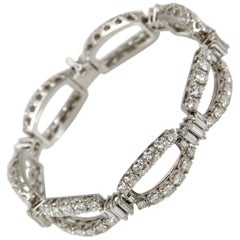 1960 White Gold Diamond Chain Bracelet Made in France