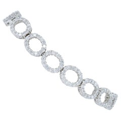 18 Karat White Gold Open Circle 4 Carat Diamond Bracelet