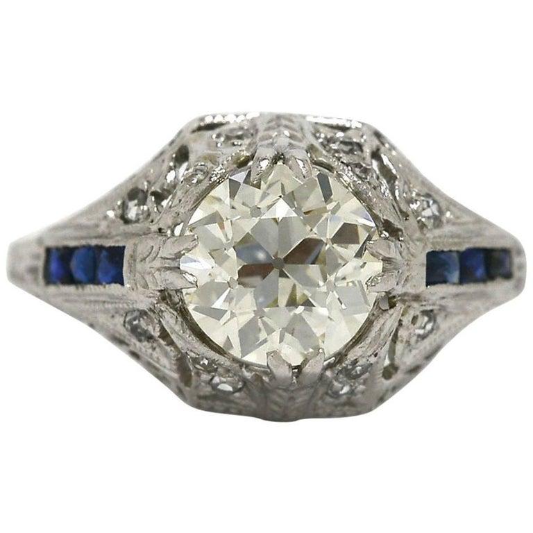 Filigree Art Deco Old European Diamond 1.83 Carat Blue Sapphire Engagement Ring