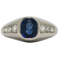 Art Deco Blue Sapphire Cushion Engagement Ring Pinky Dome Diamond Platinum 1930s