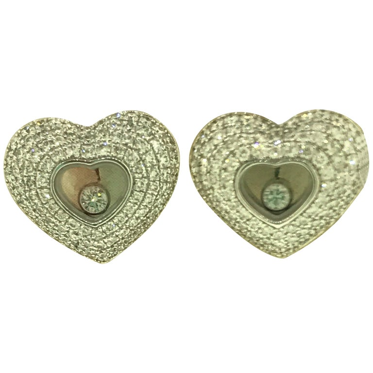 Chopard Happy Diamonds Hearts 18 Karat Gold Pave Diamond Earrings 83/7417-1001