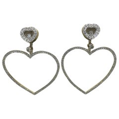 Chopard Happy Diamonds Hearts 18 Karat White Gold and Diamonds Large Earrings